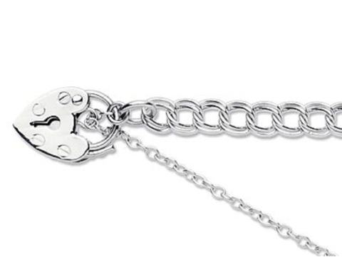 Silver,link,bracelet,with,padlock,and,safety,chain,Silver link bracelet padlock safety chain