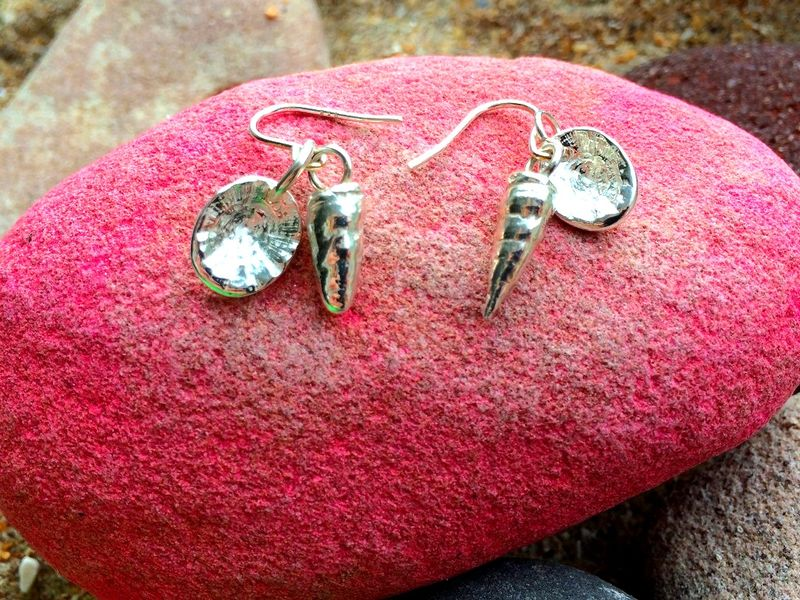 Silver shell drop earrings - product images  of