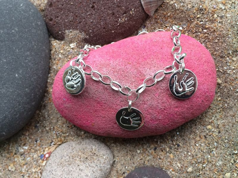 Silver handprint charm bracelet - product images  of