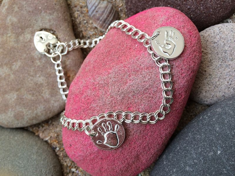 Silver handprint charm bracelet with padlock - product images  of