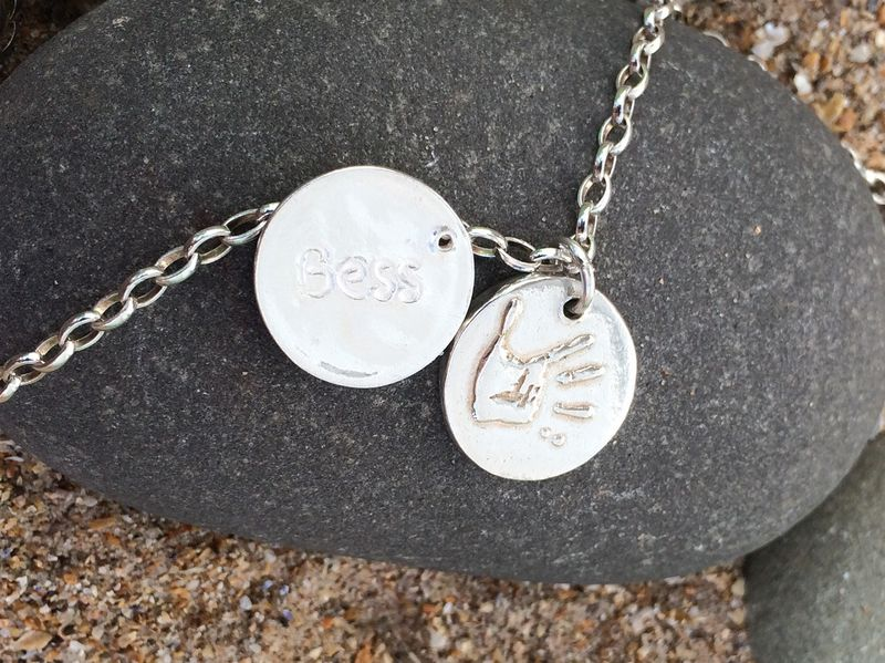 Silver handprint necklace - product images  of