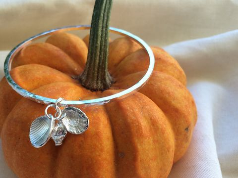 Shell,collection,bangle,Silver bangle, hammered silver, shell charm, silverbean jewellery