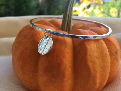 Silver,leaf,bangle,Silver bangle, hammered silver, leaf charm, silverbean jewellery