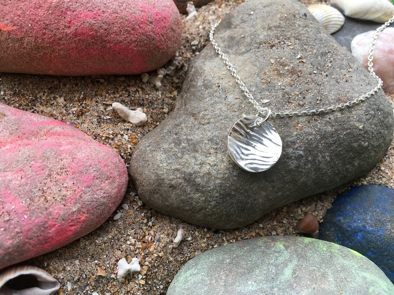 Silver ripple pendant and necklace - product images  of