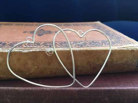 Statement,heart,earrings,Wire earrings, heart earrings, silver jewellery