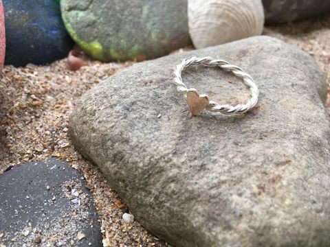 Twisted,wire,Heart,Ring,Rose gold heart ring, stacking ring, twisted silver wire ring