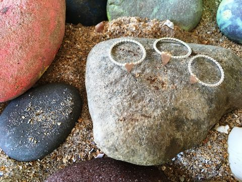 Rose,Gold,Heart,Beaded,wire,ring,Rose gold heart ring, stacking ring, beaded silver wire ring