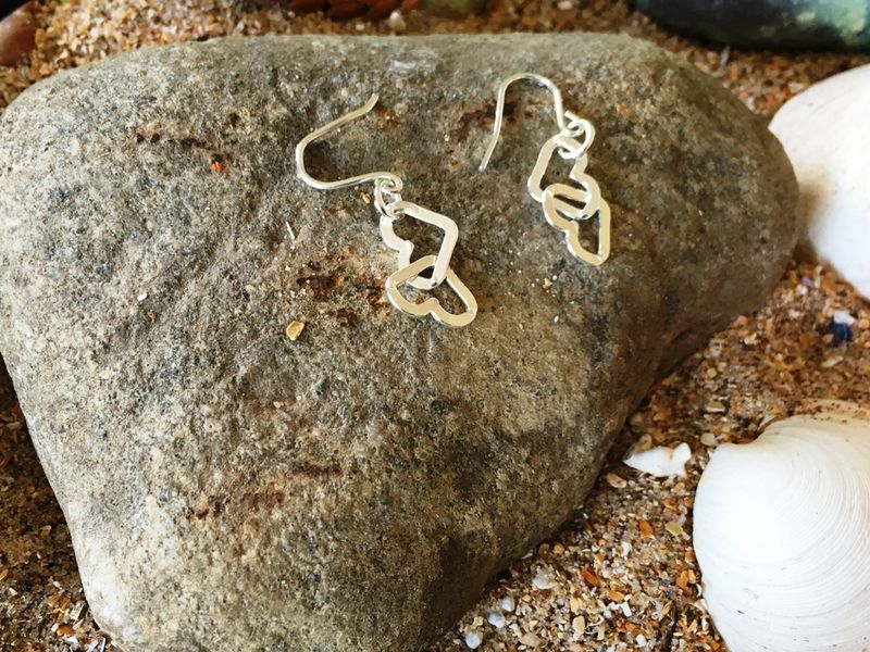 Heart link chain earrings - product images  of