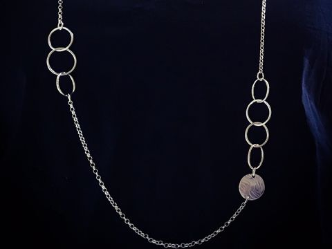Silver,long,statement,link,necklace,statement necklace, link necklace, ripple retreat jewellery, silver jewellery