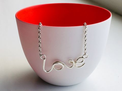 Silver,Love,Necklace,Silver necklace, love, valentines jewellery, written jewellery, presents