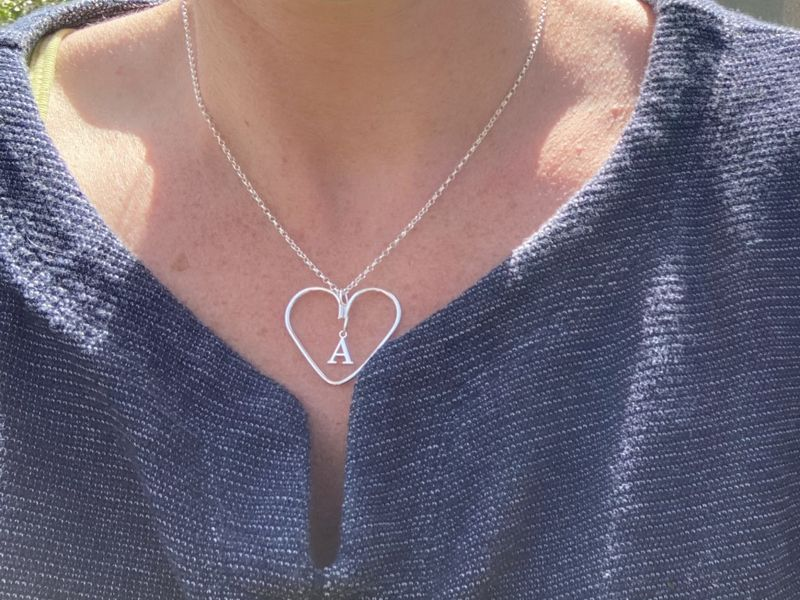 Silver wire heart necklace with star or letter - product images  of