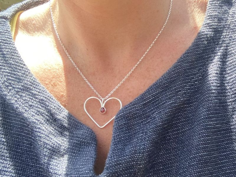 Gemstone silver heart necklace - product images  of
