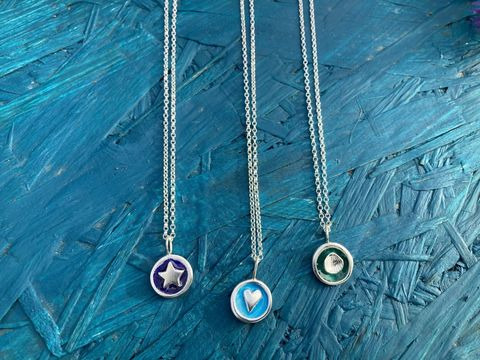 Enamel,silver,necklace,Enamel silver necklace, silver necklace, coloured jewellery