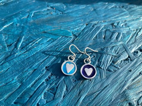 Enamel,Silver,drop,earrings,Enamel earrings, silver earrings, heart jewellery, shell jewellery