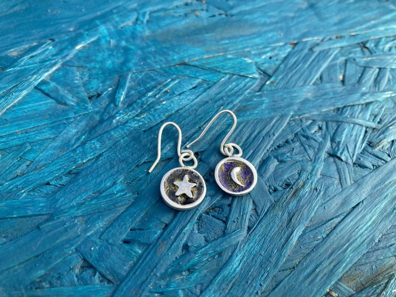 Enamel Silver drop earrings - product images  of
