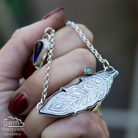With,Guidance,feather necklace, silver feather, etched silver, rustic necklace, boho style, bohemian jewellery, cornish jewellery, cornish jeweller, uk made, hallmarked silver, hand made, hand crafted,