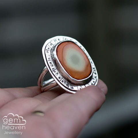 Decorous,Adjustable,ring,Jasper ring, Imperial Jasper, rustic silver, chunky ring,orange , gemstone ring, boho style, bohemian jewellery, gypsy style, witch jewellery, witchy, cornish jewellery, cornish jeweller