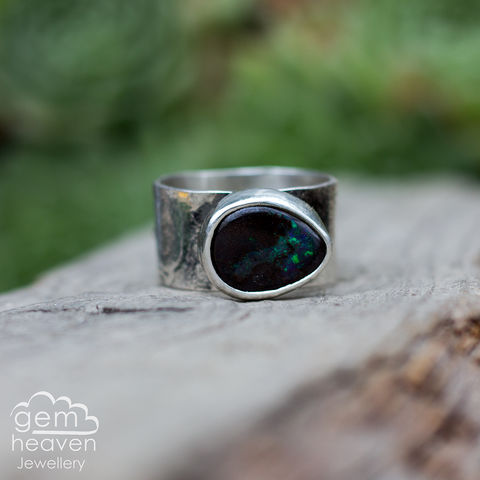 The,Just,Being,ring,witch, wiccan, Boulder Opal, opal ring, sterling silver, rustic silver, leaves, statement ring, bohemian jewellery, boho style, witch jewellery, cornish jeweller, designed silver, cornish jewellery, art
