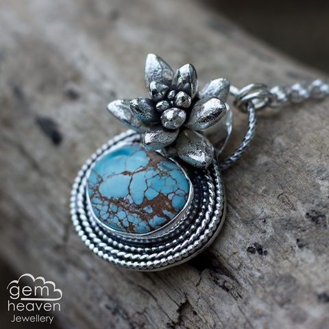 Prudence,Series~,Hubei,Turquoise,pendance, pendant, necklace, succulant flower, cast silver, gemstone, boho style, medieval, rustic silver, sterling silver, uk made, cornish jewellery, bohemian style, cornish jeweller, jo tubb, art, design, witch jewellery, gypsy,