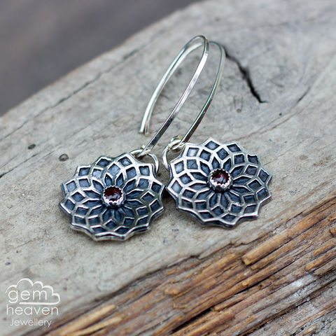 Focus,earrings,with,Garnet,round earrings, red earrings , dangle earrings, sterling silver, garnet earrings, silver dangle earrings, hammered hoops, Labradorite earrings, cornish jewellery, cornish jeweller, uk made, boho style, bohemian chic