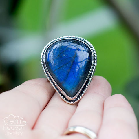 Midnight,Waves,Statement,ring,Statement ring, Labradorite, pear shaped stone ring, waves, flowing shores, rustic silver, chunky ring, blue ring , gemstone ring, boho style, bohemian jewellery, gypsy style, witch jewellery, witchy, cornish jewellery, cornish jeweller