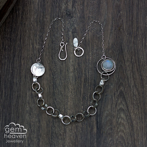 Orbitol,with,Moonstone,Moon ,statement piece, moonstone, gemstone necklace, gemstone, boho style,  rustic silver, sterling silver, uk made, cornish jewellery, bohemian style, cornish jeweller, jo tubb, art, design, witch jewellery, gypsy,