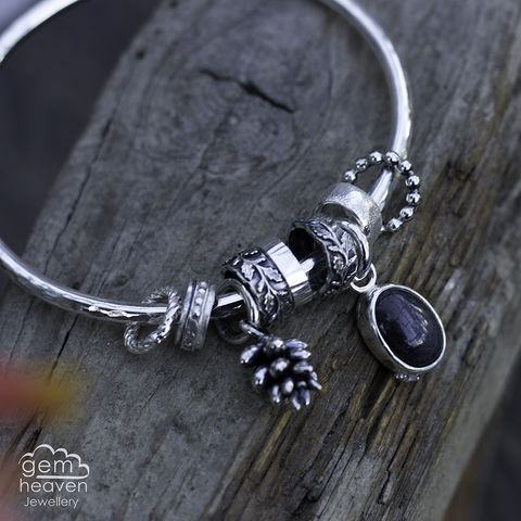 Spinner,of,Yarns,bangle,charm bangle,  succulent cast flower , charm bangle,black sunstone, black gemstone, rustic silver, sterling silver, uk made, boho style, cornish jewellery, cornish jeweller, bohemian jewellery, gypsy style,
