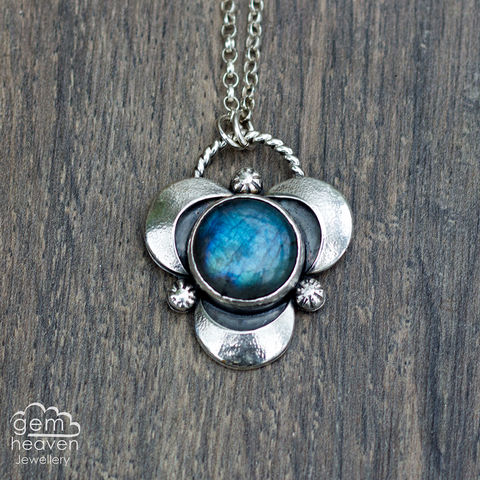 Moonscape,with,Labradorite, pendant, necklace, moon, crescent moon, gemstone, boho style, medieval, rustic silver, sterling silver, uk made, cornish jewellery, bohemian style, cornish jeweller, jo tubb, art, design, witch jewellery, gypsy,