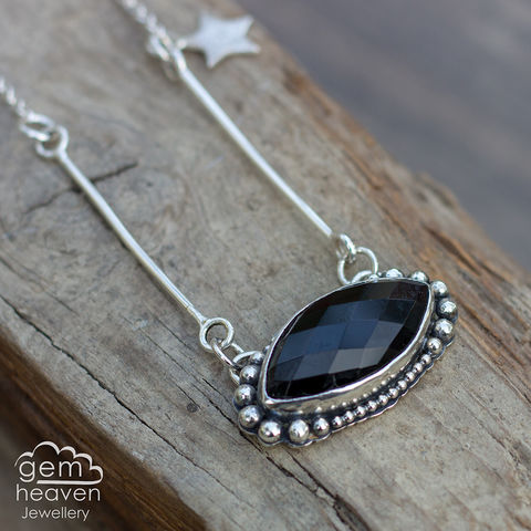 The,Witching,Hour,Black onyx, pendant, necklace, star charm faceted stone, marquis shape, gemstone, boho style, medieval, rustic silver, sterling silver, uk made, cornish jewellery, bohemian style, cornish jeweller, jo tubb, art, design, witch jewellery, gypsy,