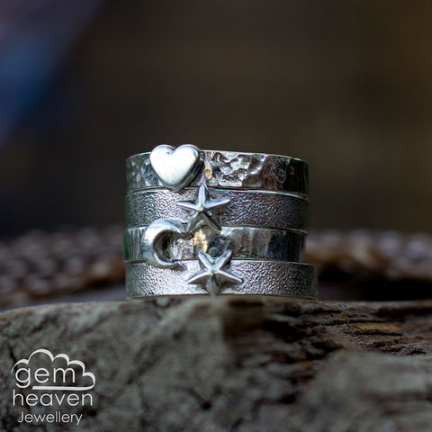 Token,Ring,Jewellery, Ring, Token ring, heart ring, Moon ring, hammered ring band, sterling silver ring, silver gemstone ring, uk made, bohemian style, rustic ring, purple gemstone, metalwork ring, gemheaven jewellery, wish ring