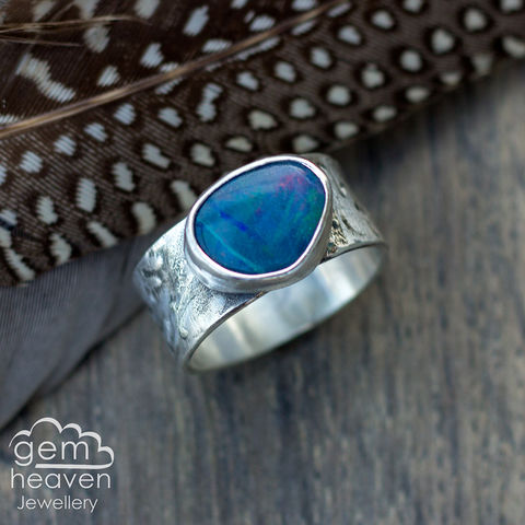 Bestow,ring,Jewellery, Ring, blue ring, opal ring, stone ring, gemstone ring, rustic ring band, sterling silver ring, silver gemstone ring, uk made, bohemian style, rustic ring, purple gemstone, metalwork ring, gemheaven jewellery, wish ring