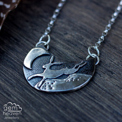 From,the,Light,Collection,~,leaping,Hare,crescent moon, pendant, necklace, hare, , boho style, medieval, rustic silver, sterling silver, uk made, cornish jewellery, bohemian style, cornish jeweller, jo tubb, art, design, witch jewellery, gypsy