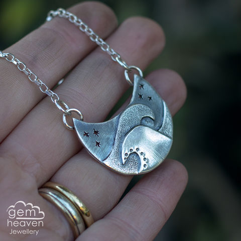 From,the,Light,Collection,~,Crashing,Waves,crescent moon, pendant, necklace, waves, stars, boho style, medieval, rustic silver, sterling silver, uk made, cornish jewellery, bohemian style, cornish jeweller, jo tubb, art, design, witch jewellery, gypsy,