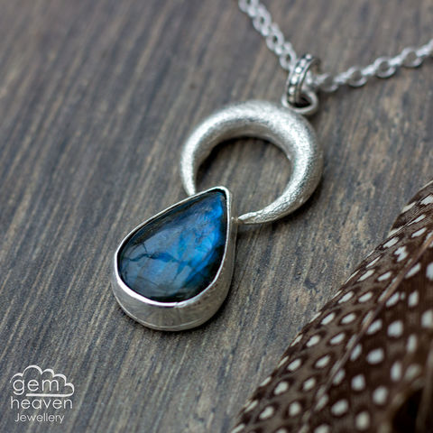 Goddess,of,the,Moon,Labradorite, pendant, teardrop, blue  necklace, moon, gemstone, boho style, medieval, rustic silver, sterling silver, uk made, cornish jewellery, bohemian style, cornish jeweller, jo tubb, art, design, witch jewellery, gypsy,