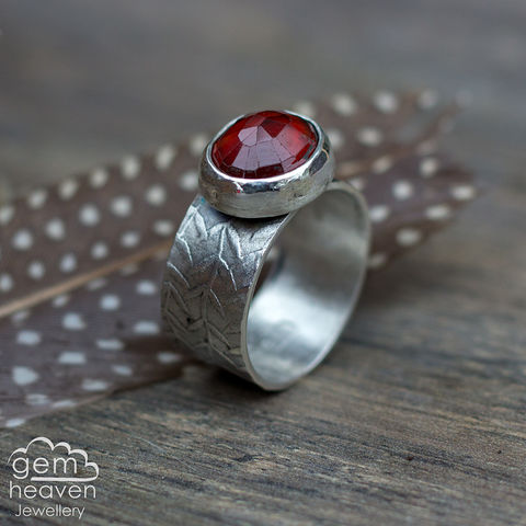 Bestow,ring,Jewellery, Ring,red ring, garnet ring, stone ring, gemstone ring, rustic ring band, sterling silver ring, silver gemstone ring, uk made, bohemian style, rustic ring, purple gemstone, metalwork ring, gemheaven jewellery, wish ring