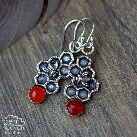 Keeper,of,Bees,earrings,carnelian earrings,  drop earrings, sterling silver, silver dangle earrings,beehive, honeycomb, bee, gypsy earrings, cornish jewellery, cornish jeweller, uk made, boho style, bohemian chic