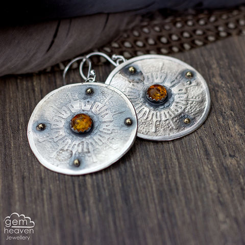 Ode,to,the,Sunrise,earrings,round earrings, sterling silver, silver and amber, amber earrings, boho style, bohemian chic, rustic silver, faceted stone, cornish jewellery, cornish jeweller, uk made, small business, gemheaven jewellery,
