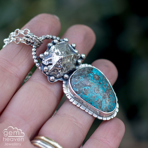 Sisters,of,the,Tide,Kingman turquoise  pendant, Turquoise, sand cast shell , pendant, sterling silver, silver necklace, cornish jewellery, cornish jeweller, uk made, boho style, bohemian chic