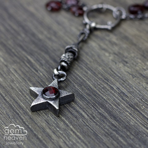 RESERVED,for,S,-Falling,Star,with,Garnet, pendant, necklace, star, cast silver , gemstone, boho style, medieval, rustic silver, sterling silver, uk made, cornish jewellery, bohemian style, cornish jeweller, jo tubb, art, design, witch jewellery, gypsy,