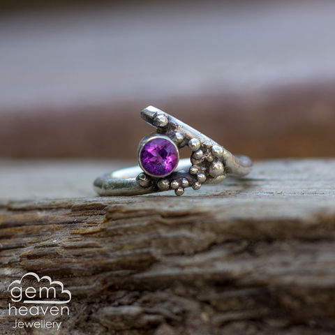 Grow,-,Amethyst,rustic,ring,Jewellery, Ring, rustic ring, sterling silver, silver ring, Amethyst, Purple ring, boho style, uk made, rustic silver, gemstone ring, blue gemstone, silver stone ring,  witch jewellery