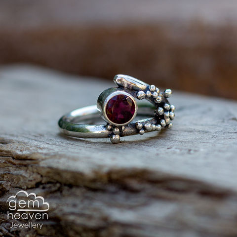 Grow,-,Garnet,rustic,ring,Jewellery, Ring, rustic ring, sterling silver, silver ring, Red ring, boho style, uk made, rustic silver, gemstone ring, blue gemstone, silver stone ring,  witch jewellery