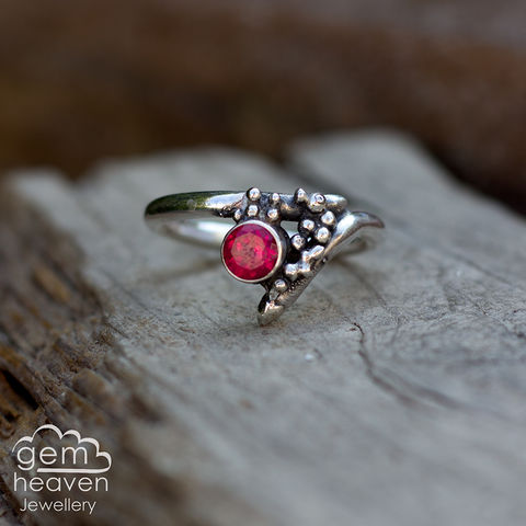 Grow,-,Ruby,(lab,created),rustic,ring,Jewellery, Ring, rustic ring, sterling silver, silver ring,Garnet, Red ring, boho style, uk made, rustic silver, gemstone ring, blue gemstone, silver stone ring,  witch jewellery