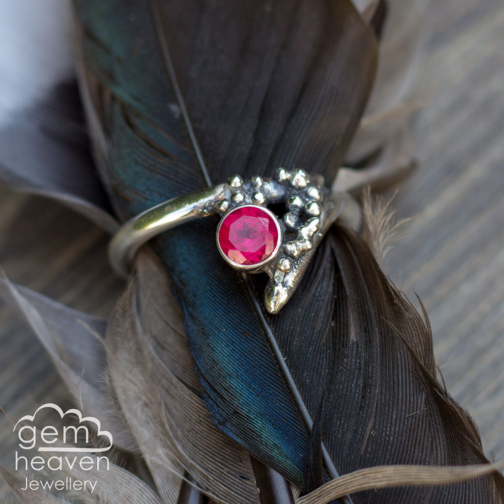 Grow - Ruby (lab created)  rustic ring  - product images  of