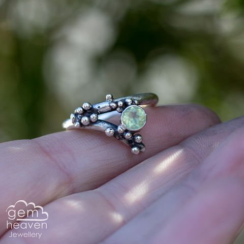 Grow,-,Prehnite,rustic,ring,Jewellery, Ring, rustic ring, sterling silver, silver ring, Prehnite, Green ring, boho style, uk made, rustic silver, gemstone ring, blue gemstone, silver stone ring,  witch jewellery
