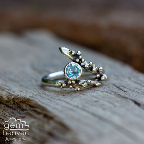 Grow,-,Blue,Topaz,rustic,ring,Jewellery, Ring, rustic ring, sterling silver, silver ring, Swiss Blue Topaz, blue ring, boho style, uk made, rustic silver, gemstone ring, blue gemstone, silver stone ring,  witch jewellery