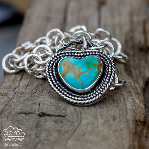 Reserved,For,the,Love,of,Ocean,Turquoise, Kingman Turquoise, heart pendant, handcrafted chain, chunky silver chain, pendant,  blue necklace,  gemstone, boho style, medieval, rustic silver, sterling silver, uk made, cornish jewellery, bohemian style, cornish jeweller, jo tubb, art, desi