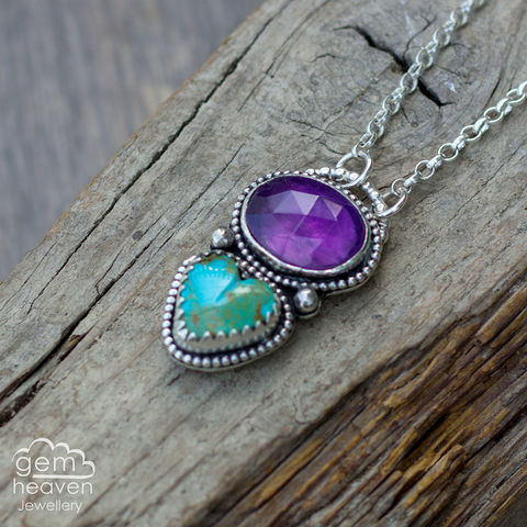 Summer,Vibes, Turquoise heart, amethyst, purple, pendant, Trillion, blue  necklace, gemstone, boho style, medieval, rustic silver, sterling silver, uk made, cornish jewellery, bohemian style, cornish jeweller, jo tubb, art, design, witch jewellery, gypsy,