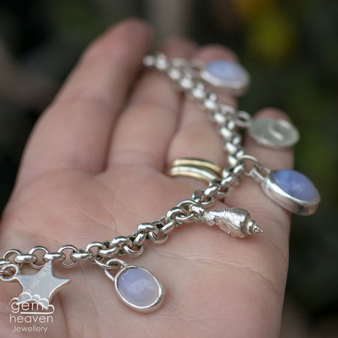 Echoes,~,charm,bracelet,with,Blue,Chalcedony,charm bracelet, Chalcedony, natural blue chalcedony, waves, beach, star , moon charm, star charm, sterling silver, uk made, uk silversmith, boho style, handcrafted, design, art, jewellery, cornish jewellery, bohemian jewellery