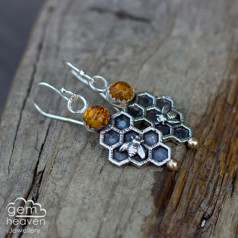 Keeper,of,Bees,earrings,Amber earrings,  drop earrings, sterling silver, silver dangle earrings,beehive, honeycomb, bee, gypsy earrings, cornish jewellery, cornish jeweller, uk made, boho style, bohemian chic