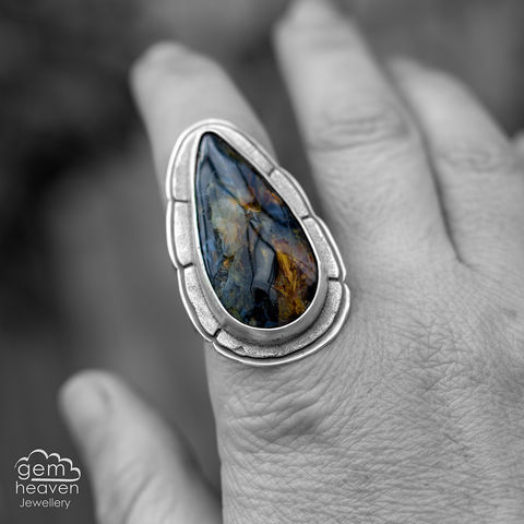 Shieldmaden,Statement,ring,Statement ring, Pietersite, tapered ring band, sunsets, warrior, rustic silver, chunky ring, black ring , gemstone ring, boho style, bohemian jewellery, gypsy style, witch jewellery, witchy, cornish jewellery, cornish jeweller
